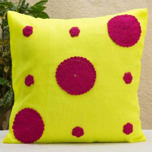 Yellow Crochet Cushion Cover