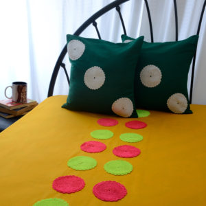Yellow Crochet Work Bed Cover With Two Cushion Covers
