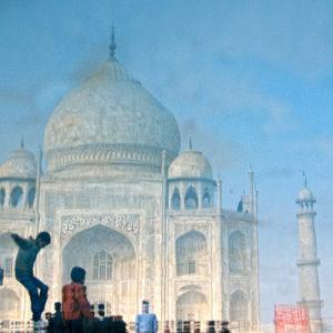 A reflection of the Taj Mahal