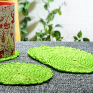 Neon green Crochet Coaster ( set of 6 )